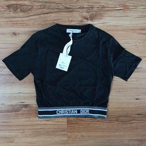 Black Color Dior Tshirt For Women